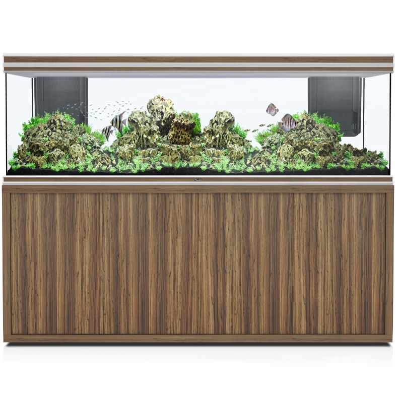 AQUATLANTIS Fusion LED 2.0 200 x 60 x 70 cm Zebrano aquarium 840 L avec meuble