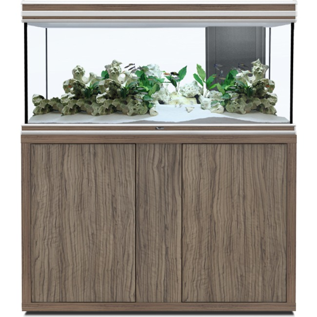 AQUATLANTIS Fusion LED 2.0 120 x 40 x 60 cm Satin Olive aquarium 288 L avec meuble