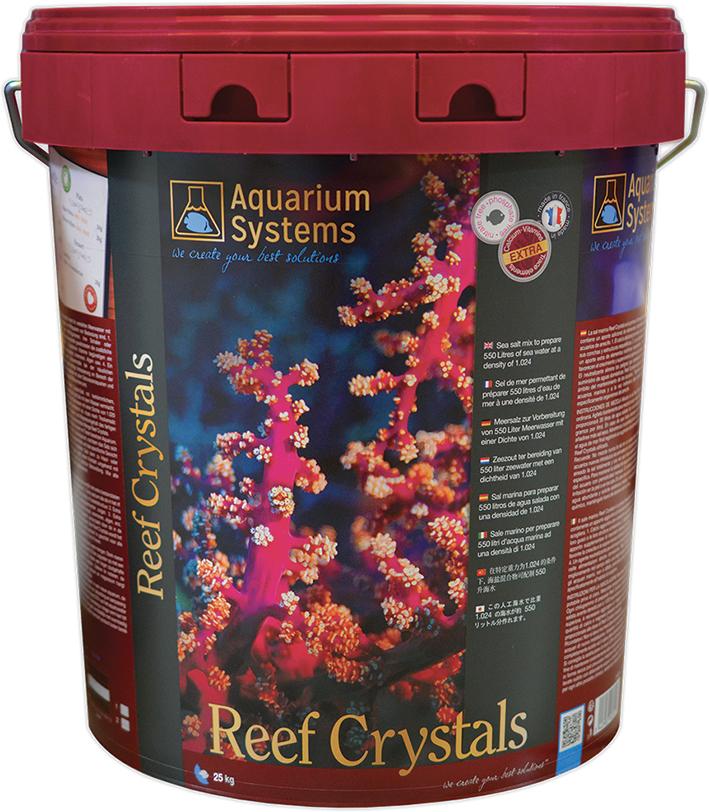 AQUARIUM SYSTEMS Reef Crystals 25 kg sel pour aquarium récifal avec coraux. Donne 750L d\'eau de mer