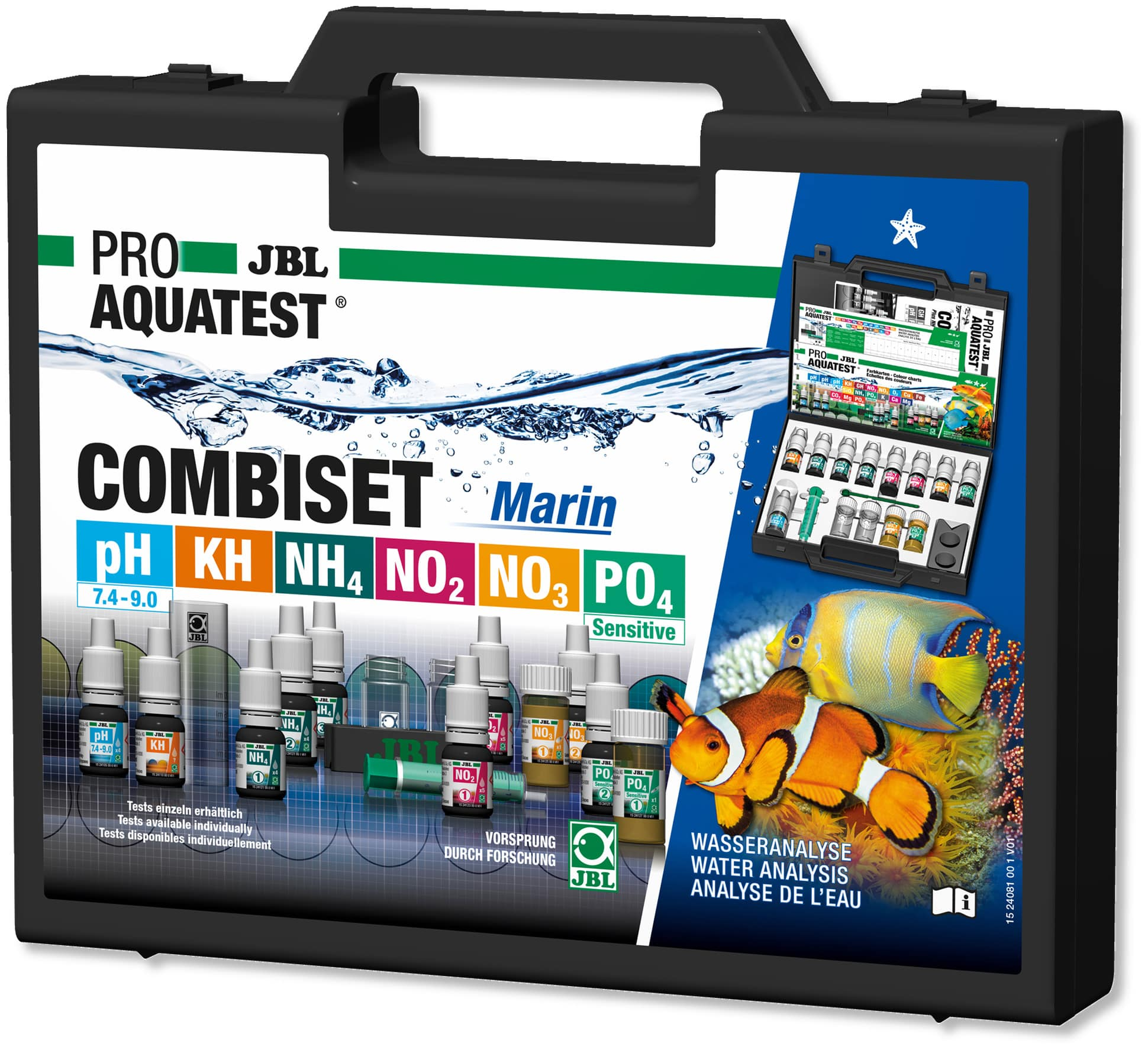 JBL ProAquaTest Combi Set Marin coffret d\'analyses pH, NO2, NO3, KH, PO4 et NH4
