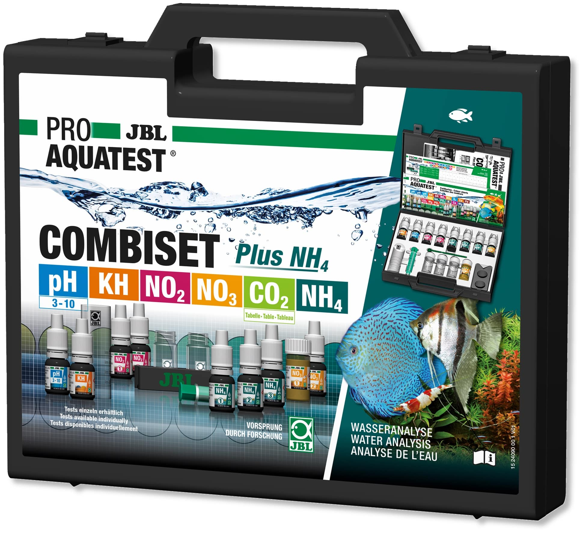 JBL ProAquaTest Combi Set Plus NH4 coffret d\'analyses pH, NO2, NO3, KH, CO2 et NH4