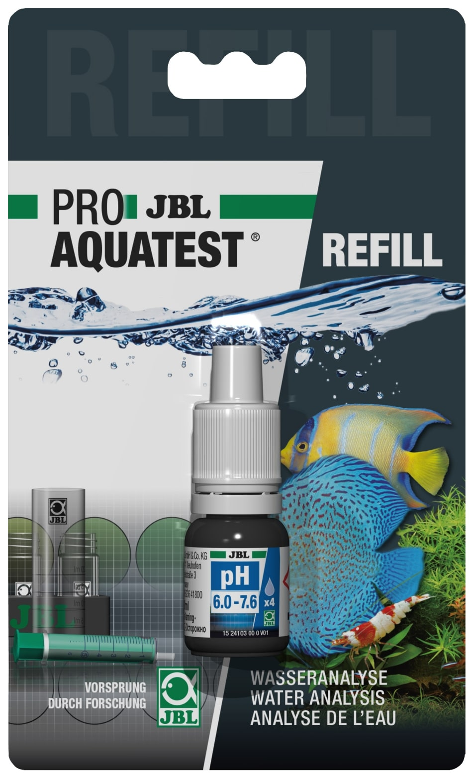 JBL Recharge ProAquaTest pH 6.0 à 7.6 pour nouveau et ancien kit de test
