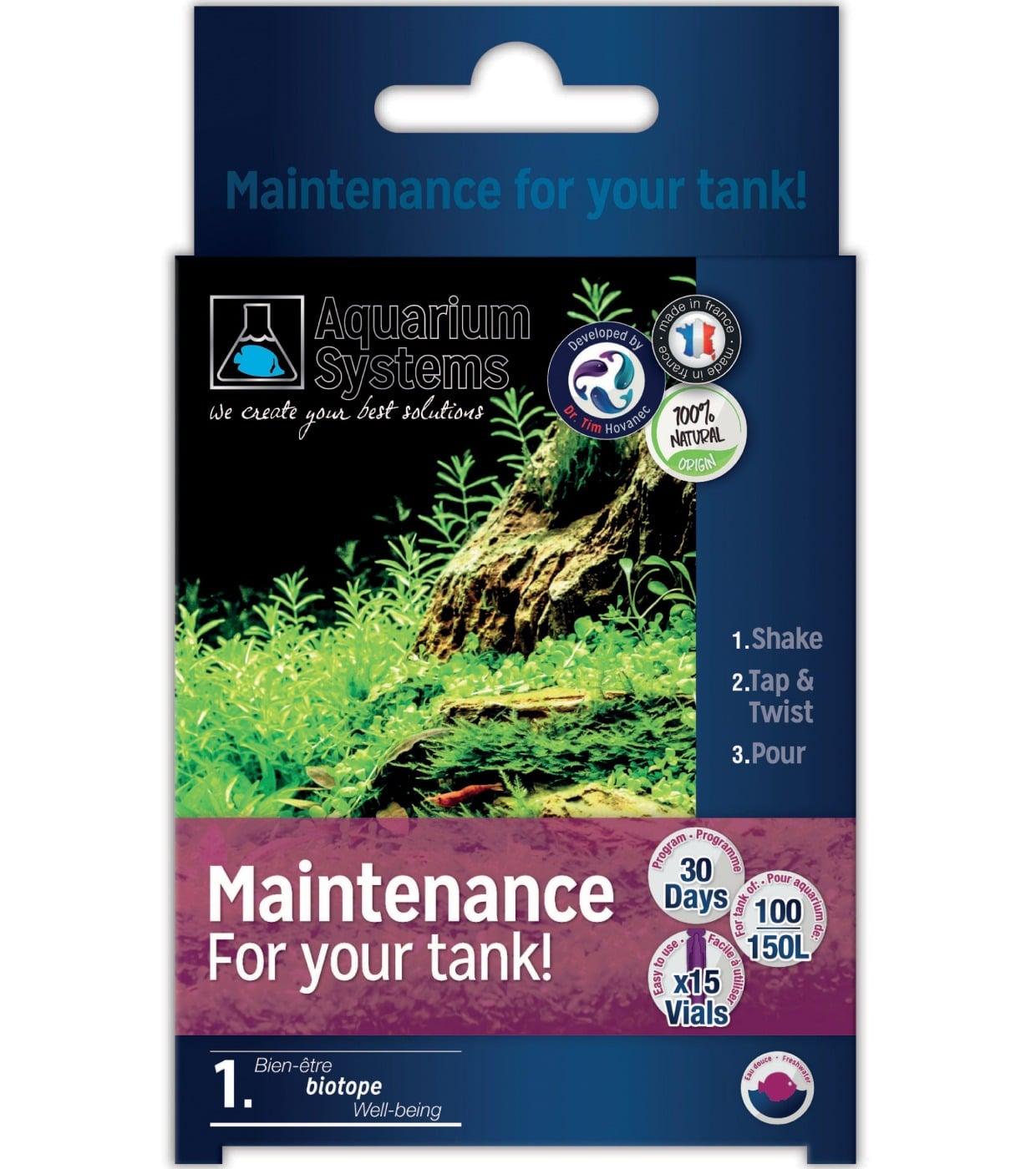 AQUARIUM SYSTEMS Maintenance Eau Douce programme Unidoses de maintien en bactéries sur 30 jours