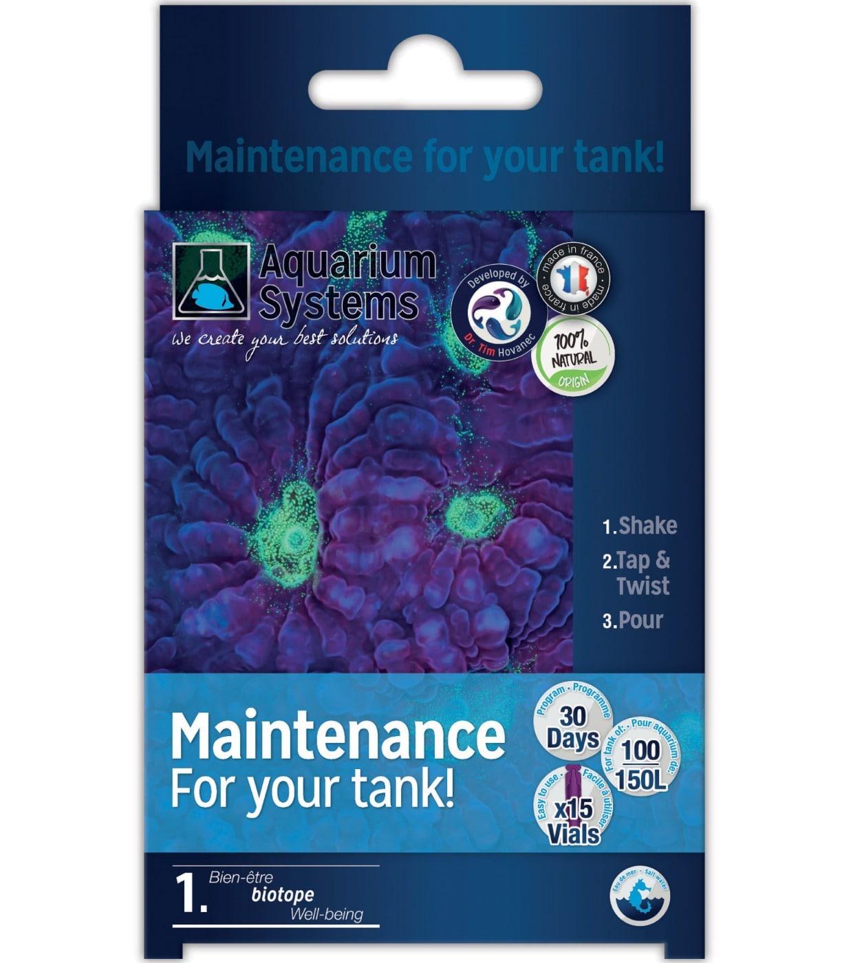 AQUARIUM SYSTEMS Maintenance Eau de Mer programme Unidoses de maintien en bactéries sur 30 jours