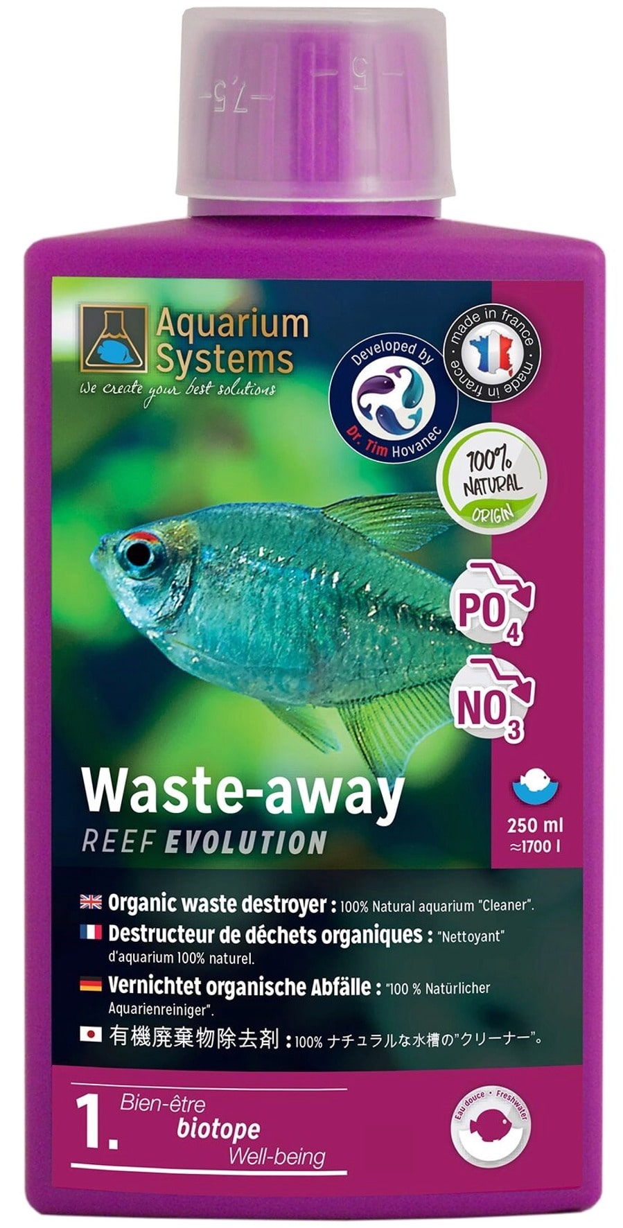 AQUARIUM SYSTEMS Waste-Away Eau Douce 250 ml nettoyant 100% naturel à base de bactéries pour aquarium