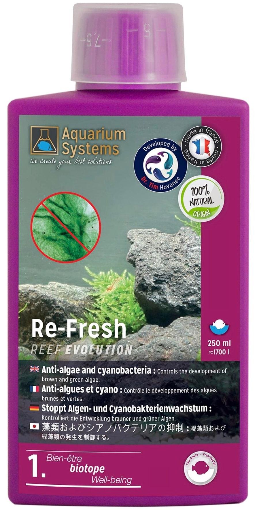 AQUARIUM SYSTEMS Re-Fresh Eau Douce 250 ml contrôle le développement des algues et Cyanobactéries en aquarium