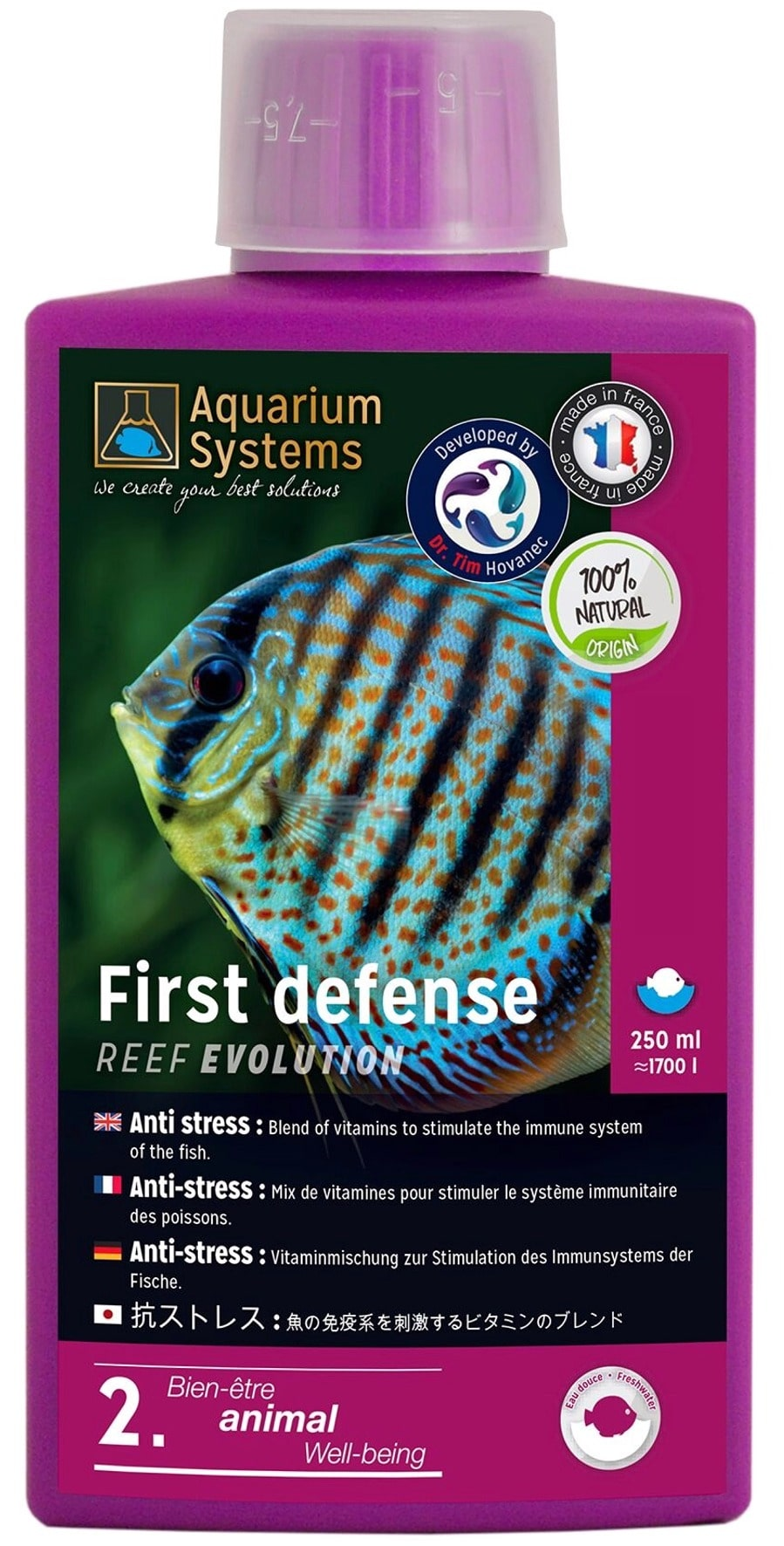 AQUARIUM SYSTEMS First Defense Eau Douce 250 ml anti-stress à base de vitamines stimulant le système immunitaire des poissons