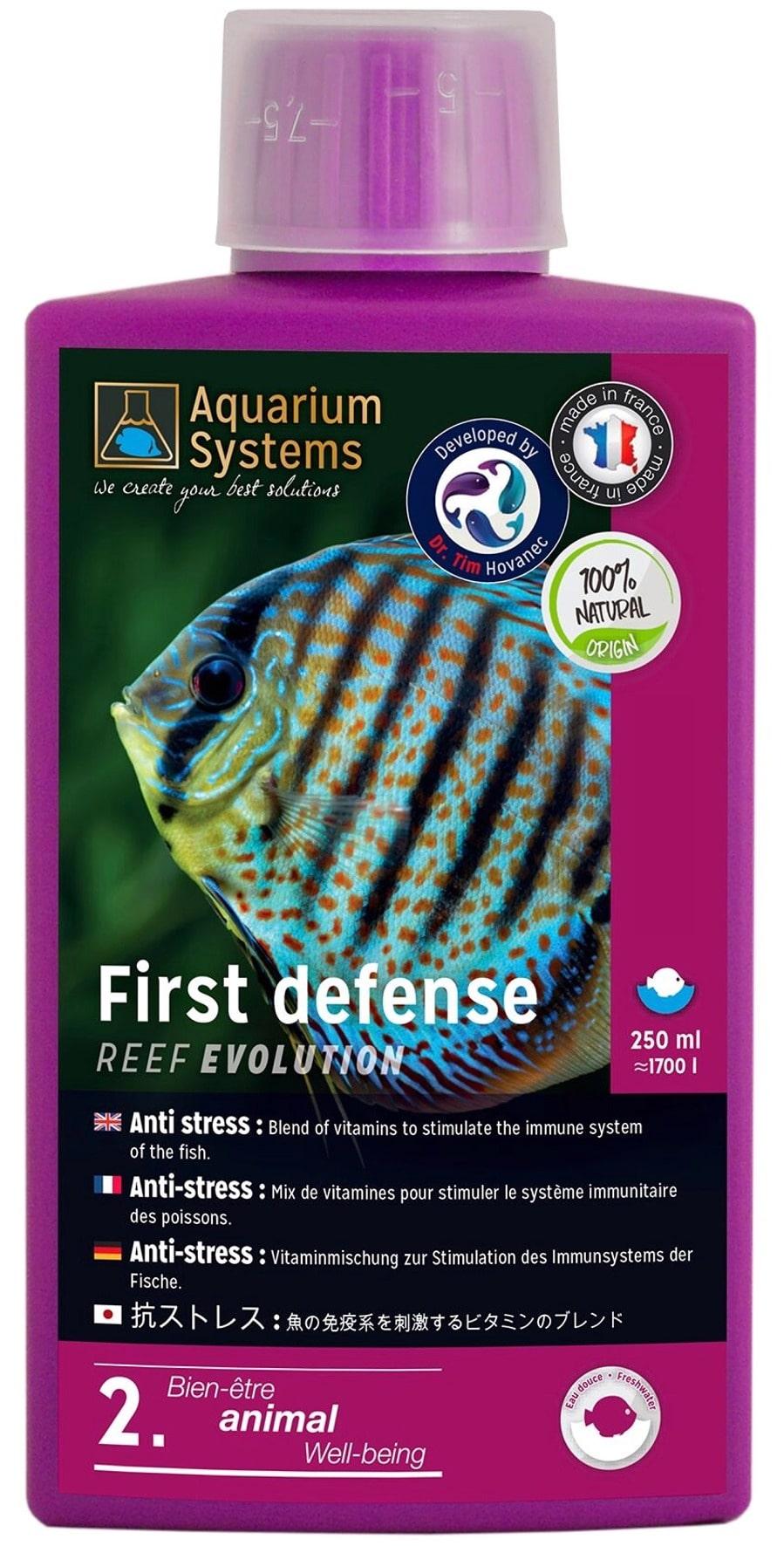 AQUARIUM SYSTEMS First Defense Eau Douce 250 ml anti-stress à base de vitamines stimulant le système immunitaire des poissons