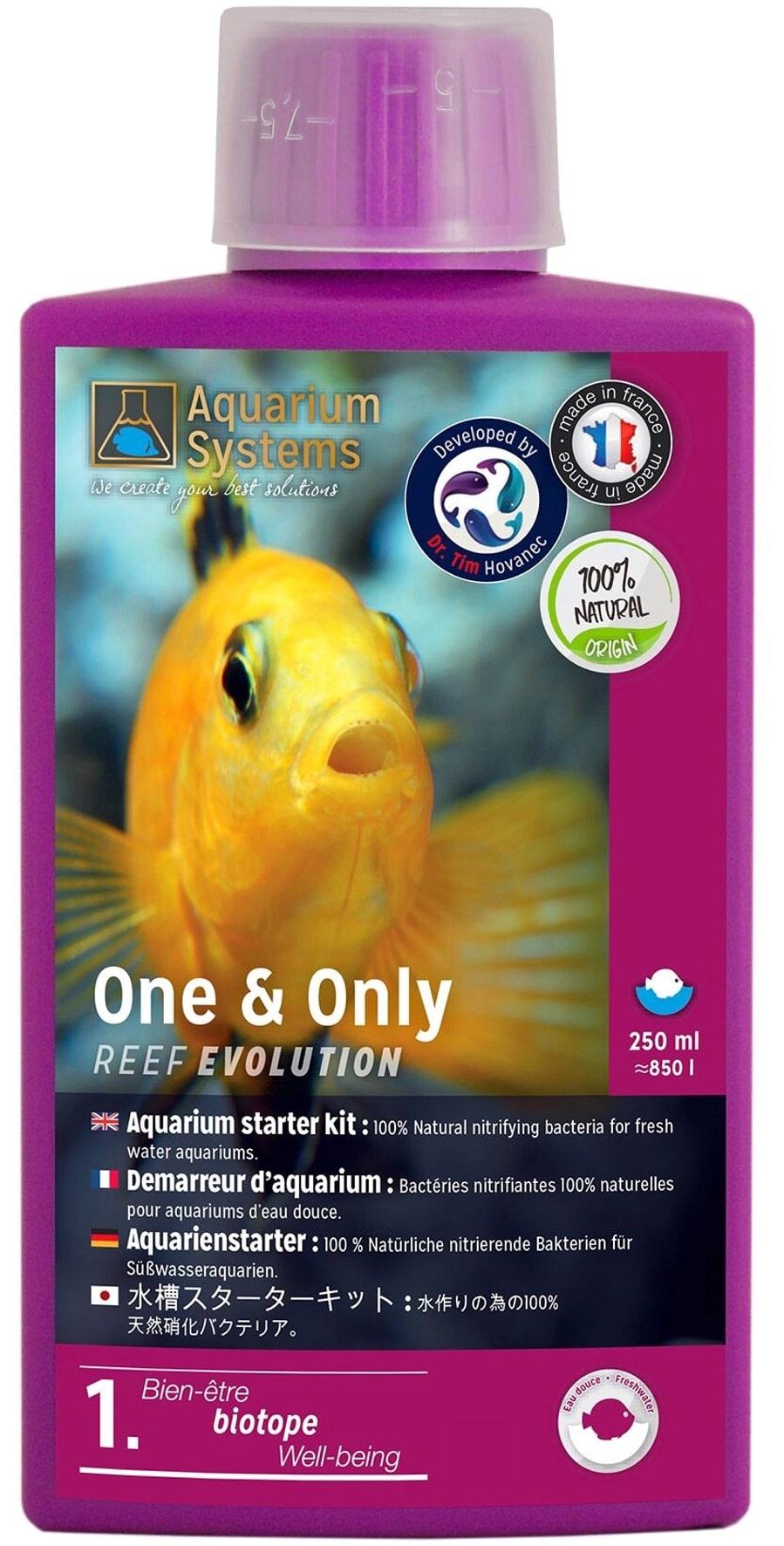 AQUARIUM SYSTEMS One & Only Eau Douce 250 ml contient 100% de bactéries nitrifiantes pour réguler l\'ammoniaque et le nitrite
