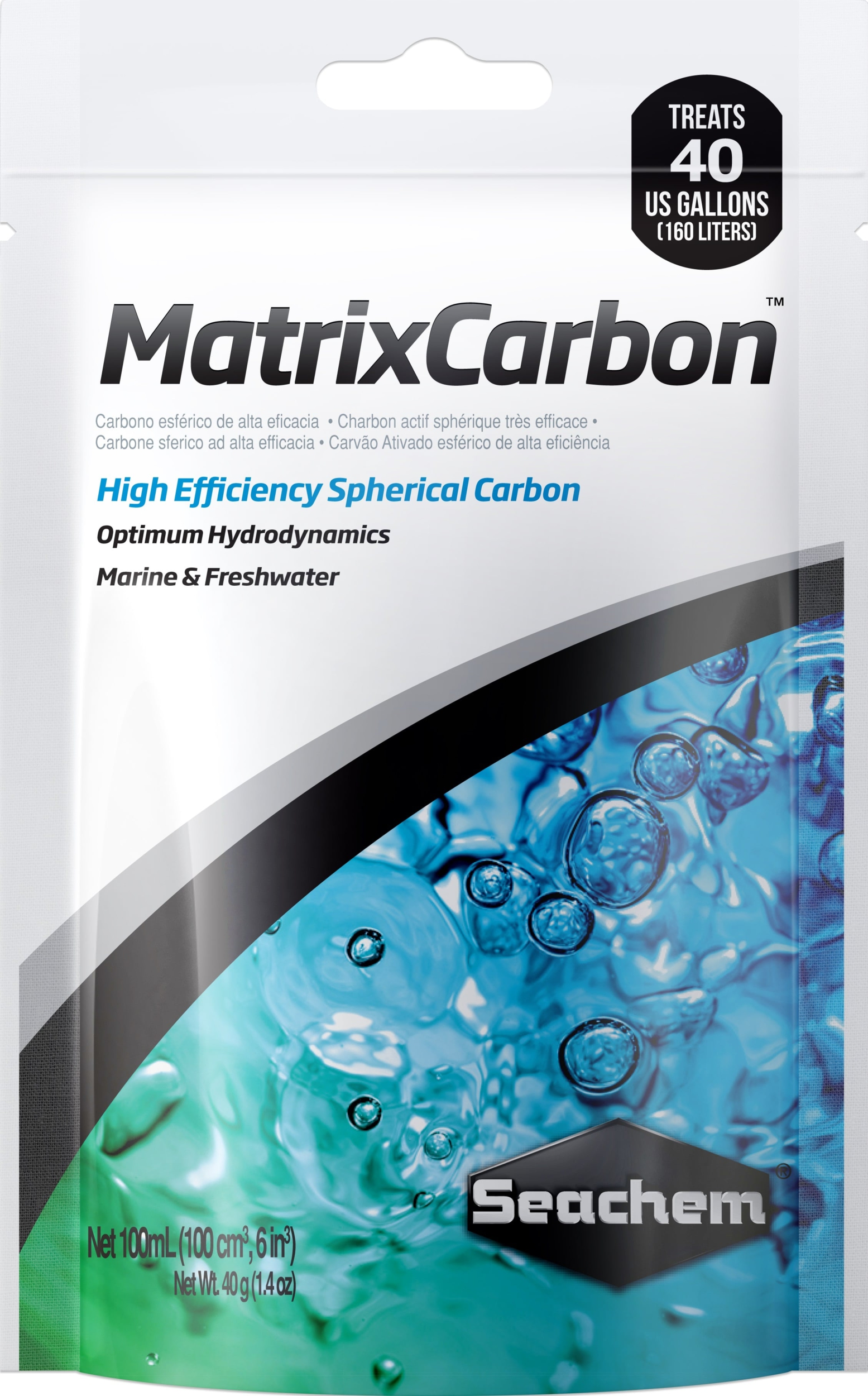 SEACHEM MatrixCarbon 100 ml charbon actif sous forme de billes pour l\'élimination des substances toxiques en aquarium