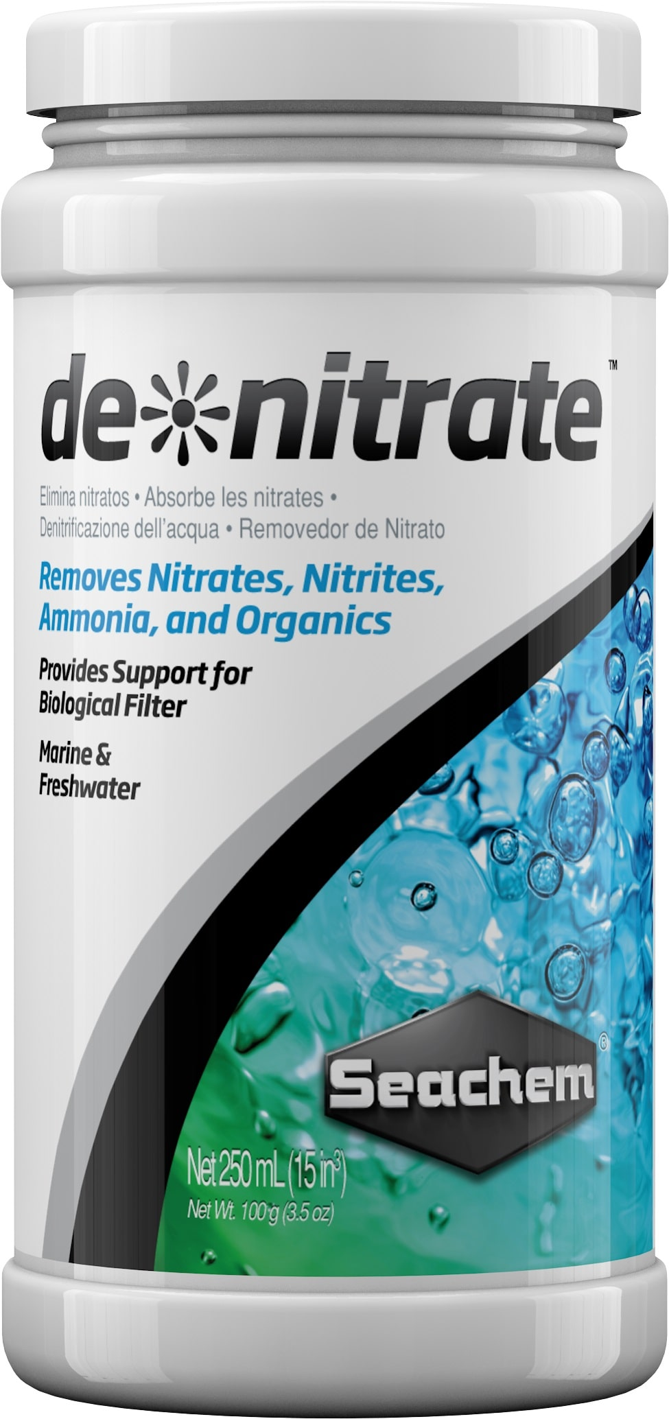 SEACHEM DeNitrate 250 ml matériau de filtration pour l\'élimination des nitrates en eau douce et en eau de mer