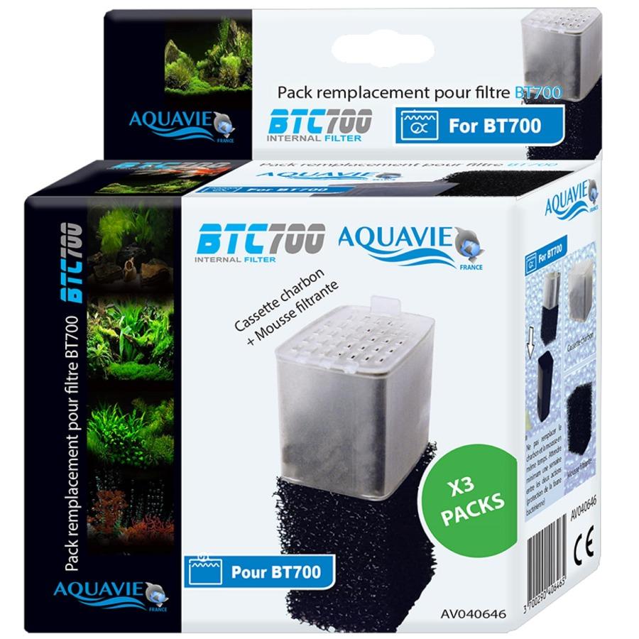 AQUAVIE BTC 700 Lot 2 kits mousse et cartouche charbon actif pour filtre BT 700