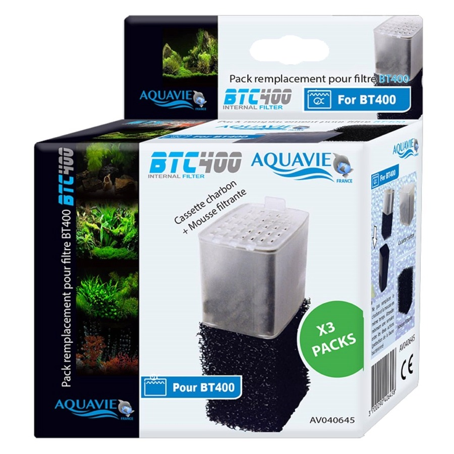 AQUAVIE BTC 400 Lot 3 kits mousse et cartouche charbon actif pour filtre BT 400