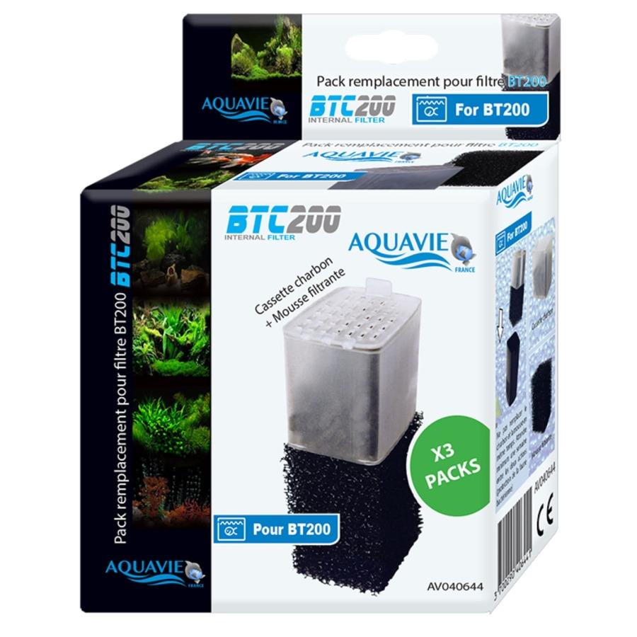 AQUAVIE BTC 200 Lot 3 kits mousse et cartouche charbon actif pour filtre BT 200