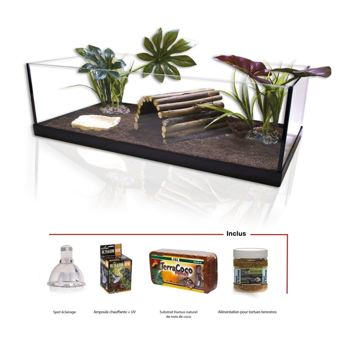 AQUAVIE Kit Tortue Terrestre 80 prêt à l\'emploi tout équipé avec éclairage Reptiles Planet