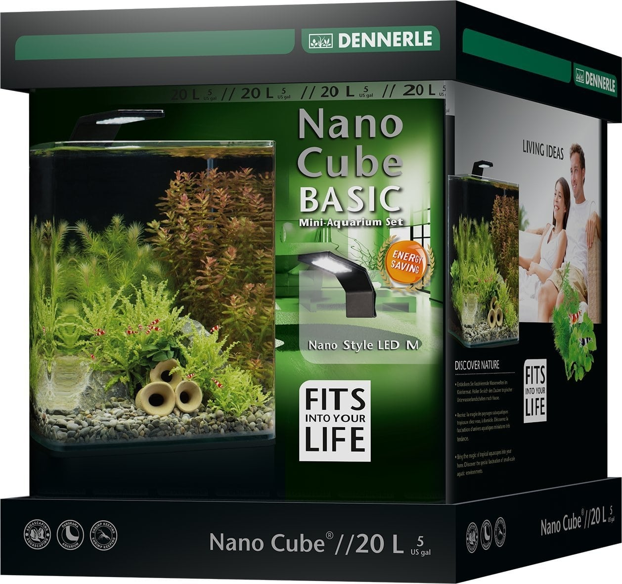 DENNERLE Nano Cube Basic 20 L nano-aquarium 25 x 25 x 30 cm avec filtration et éclairage Style LED M