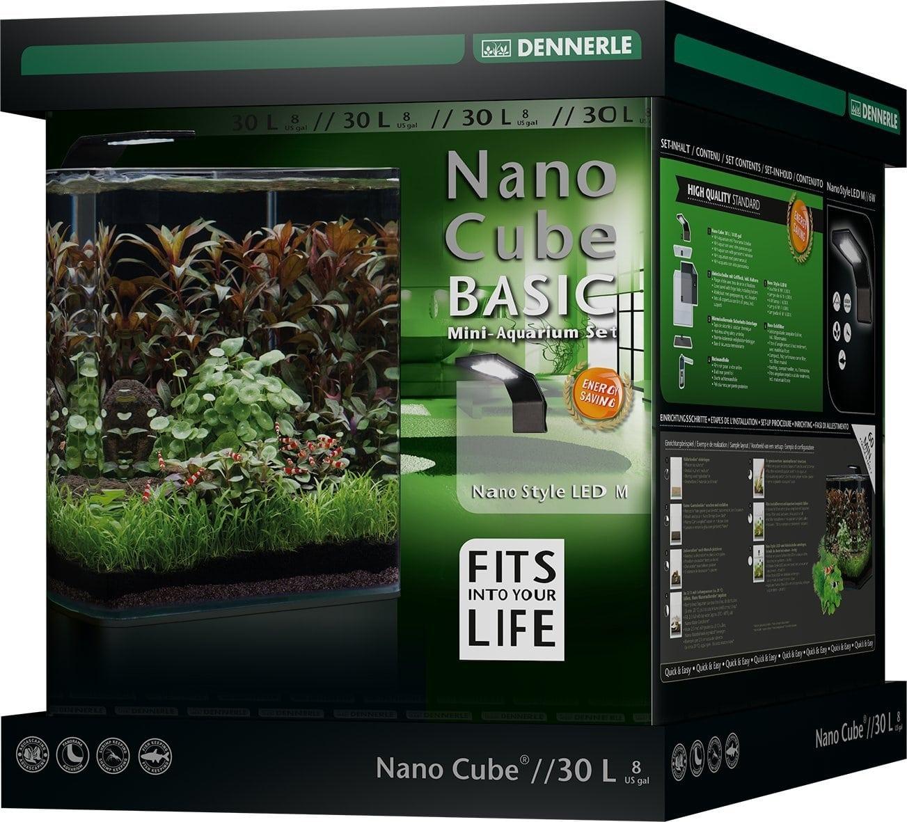 DENNERLE Nano Cube Basic 30 L nano-aquarium 30 x 30 x 35 cm avec filtration et éclairage Style LED M