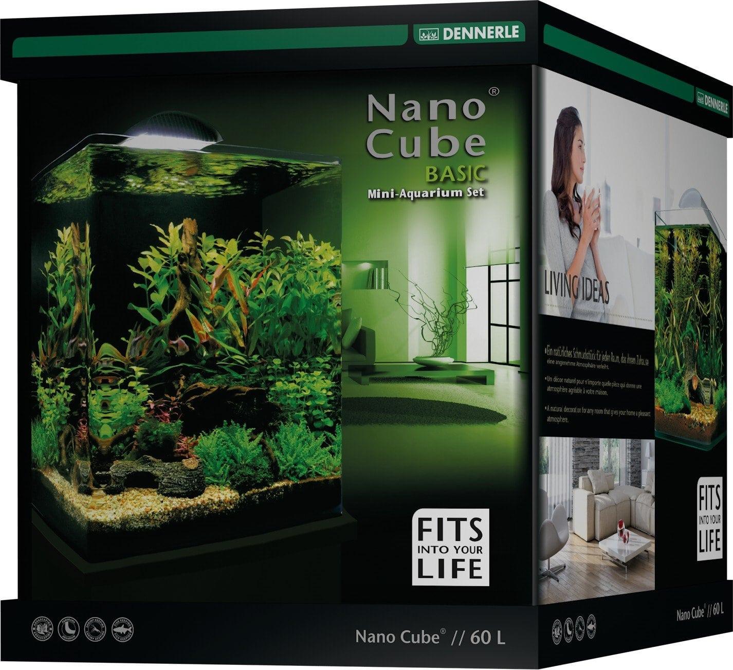 DENNERLE Nano Cube Basic 60 L nano-aquarium 38 x 38 x 43 cm avec filtration et éclairage Style LED L