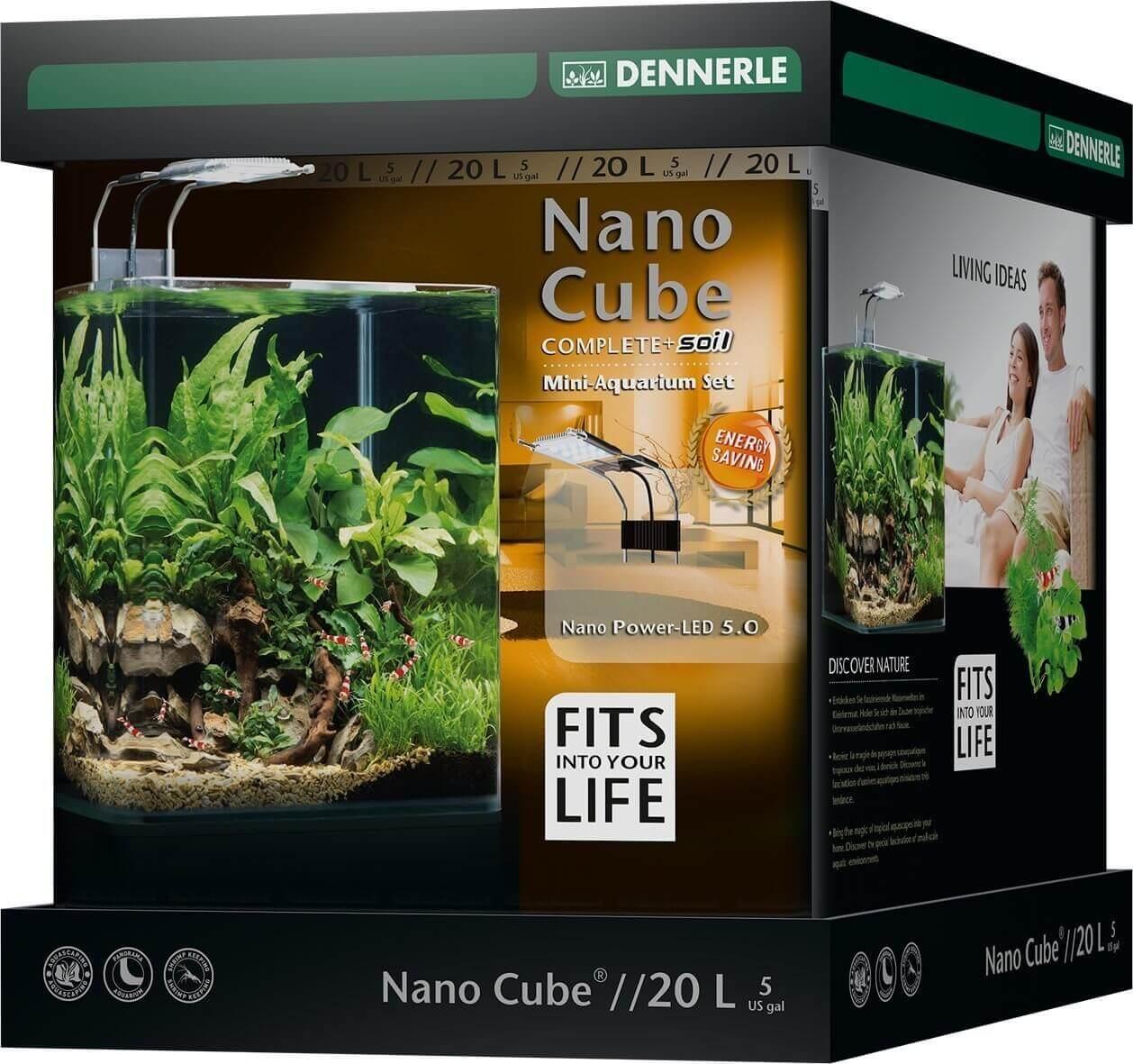 DENNERLE Nano Cube Complete+ 20 L nano-aquarium 25 x 25 x 30 cm avec substrat, gravier, filtration et éclairage Style LED M