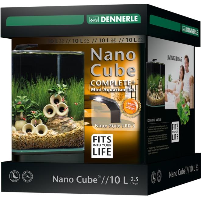 DENNERLE Nano Cube Complete+ 10 L nano-aquarium 20 x 20 x 25 cm avec substrat, gravier, filtration et éclairage Nano Style LED S