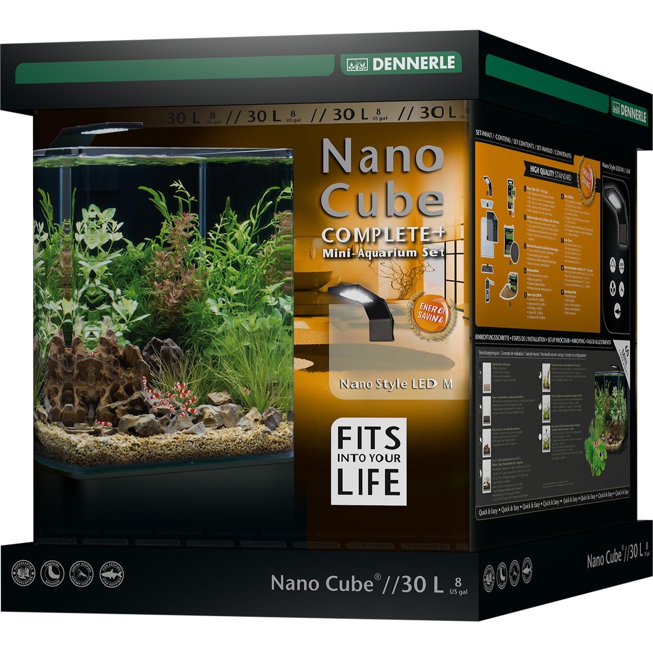 DENNERLE Nano Cube Complete+ 30 L nano-aquarium 30 x 30 x 35 cm avec substrat, gravier, filtration et éclairage Style LED M