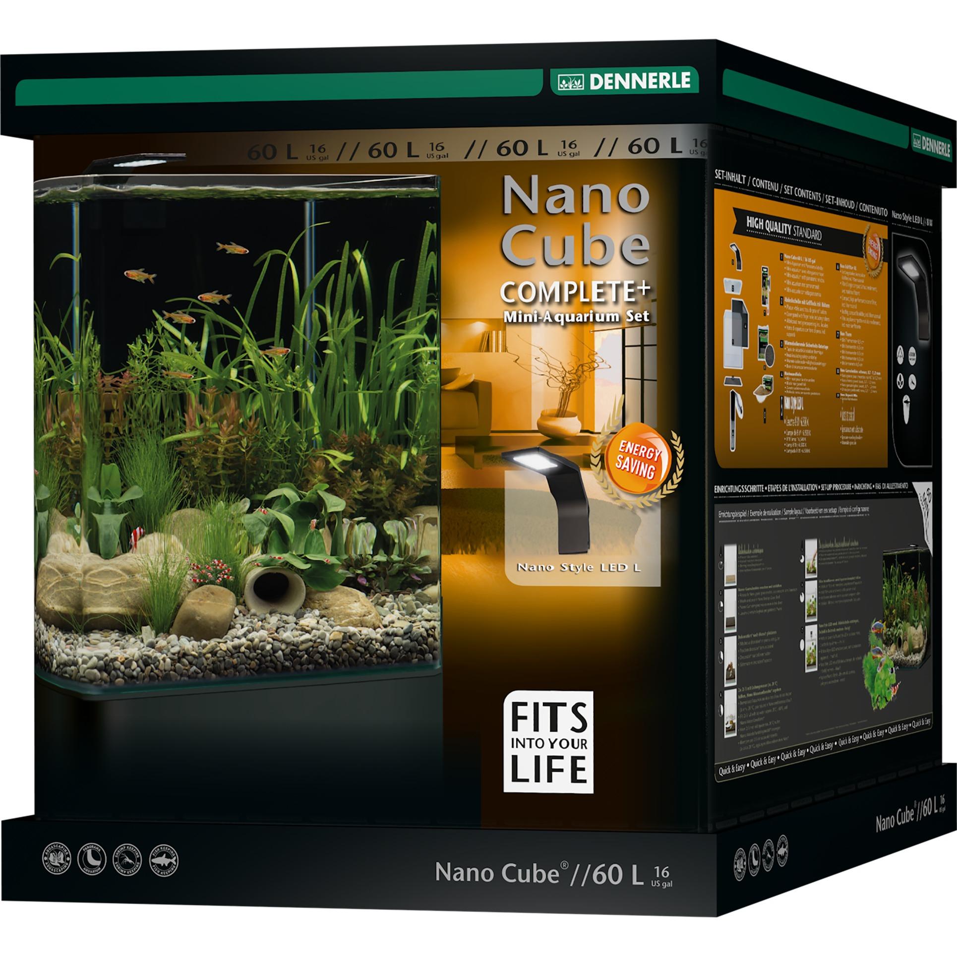 DENNERLE Nano Cube Complete+ 60 L nano-aquarium 38 x 38 x 43 cm avec substrat, gravier, filtration et éclairage Style LED L