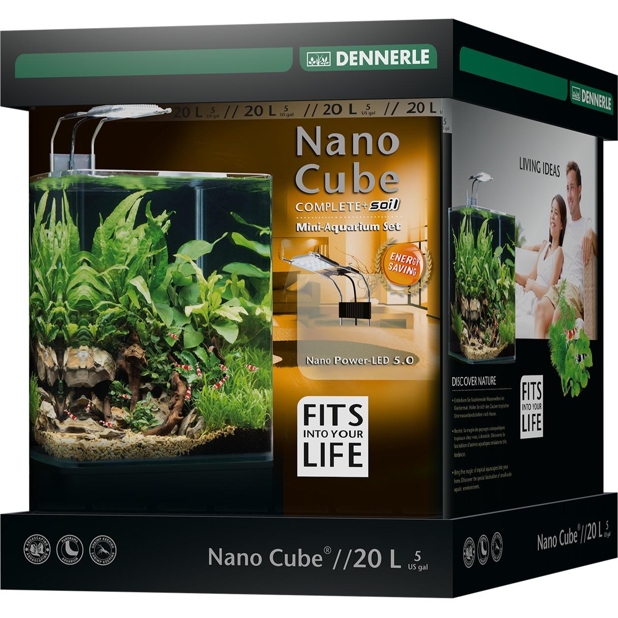DENNERLE Nano Cube Complete+ 20 L nano-aquarium 25 x 25 x 30 cm avec substrat, gravier, filtration et éclairage Power LED 5.0