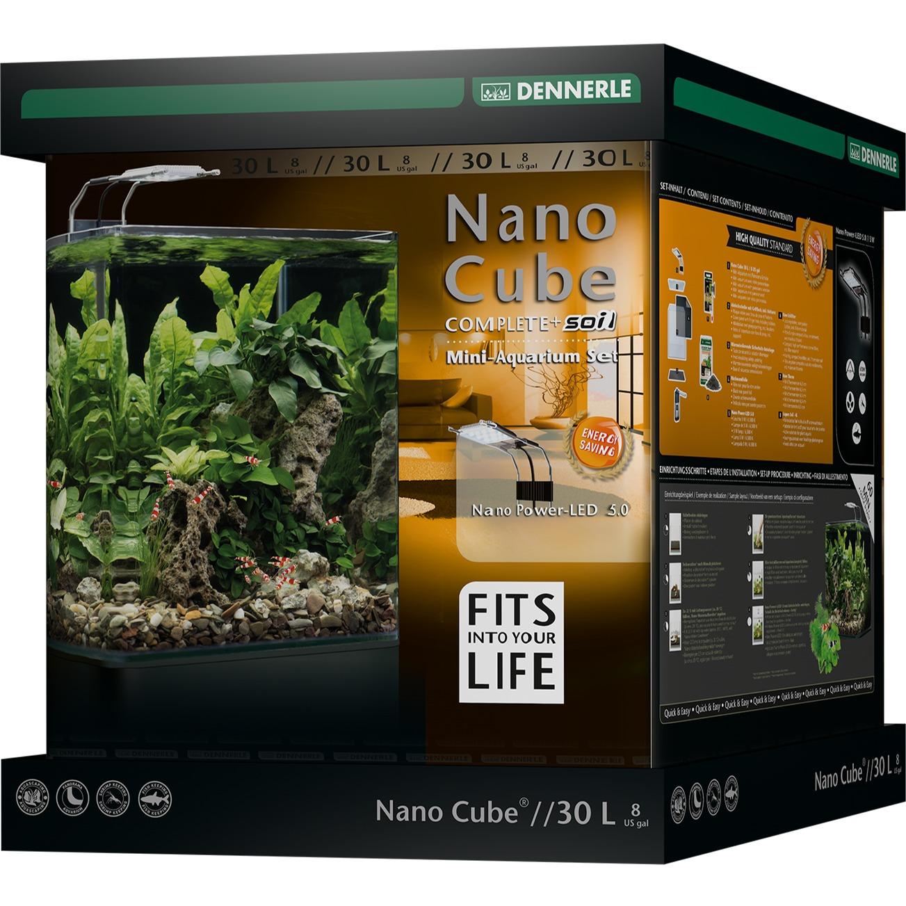DENNERLE Nano Cube Complete+ 30 L nano-aquarium 30 x 30 x 35 cm avec substrat, gravier, filtration et éclairage Power LED 5.0
