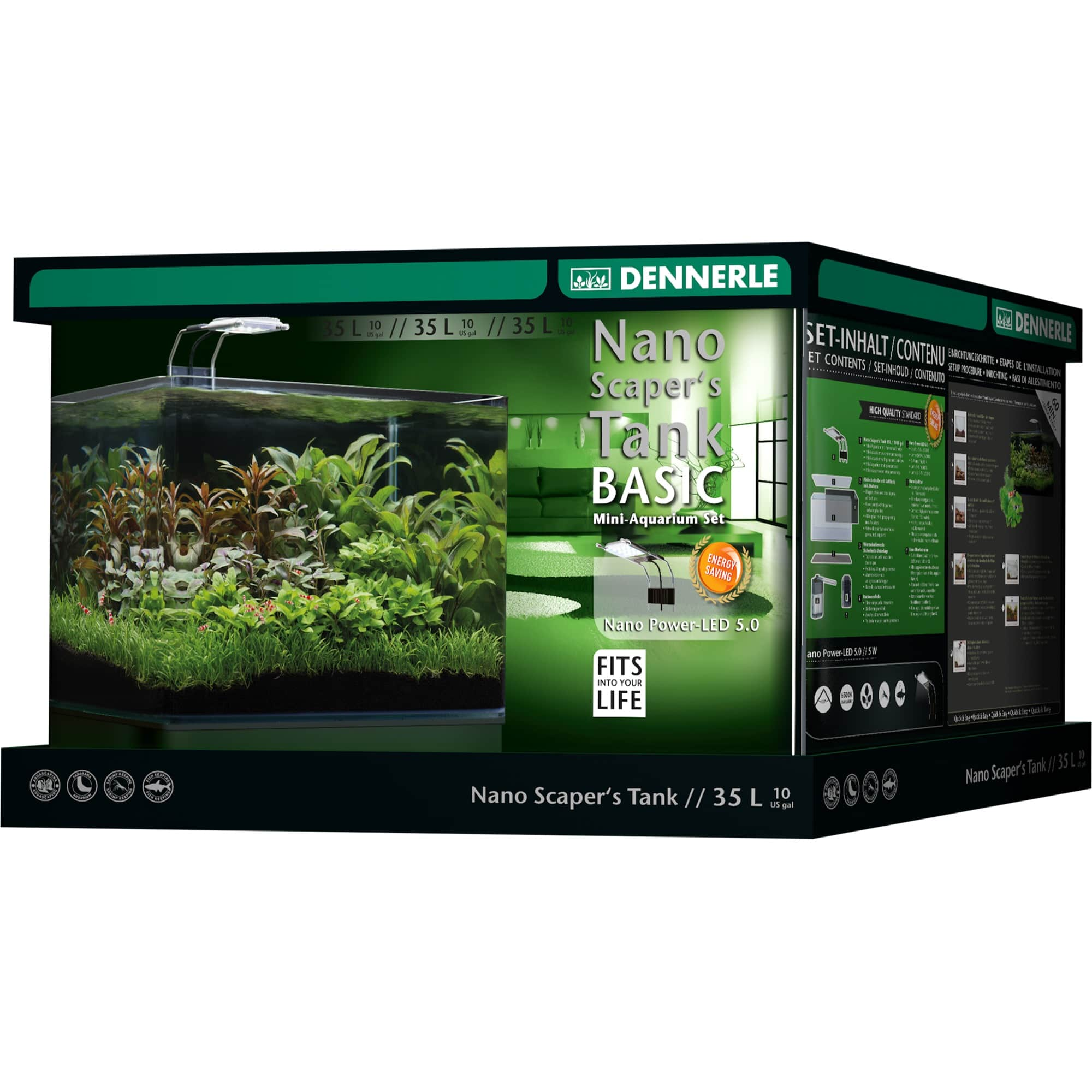 DENNERLE Nano Scaper\'s Tank Basic 35 L nano-aquarium 40 x 32 x 28 cm avec filtration et éclairage Power LED 5.0