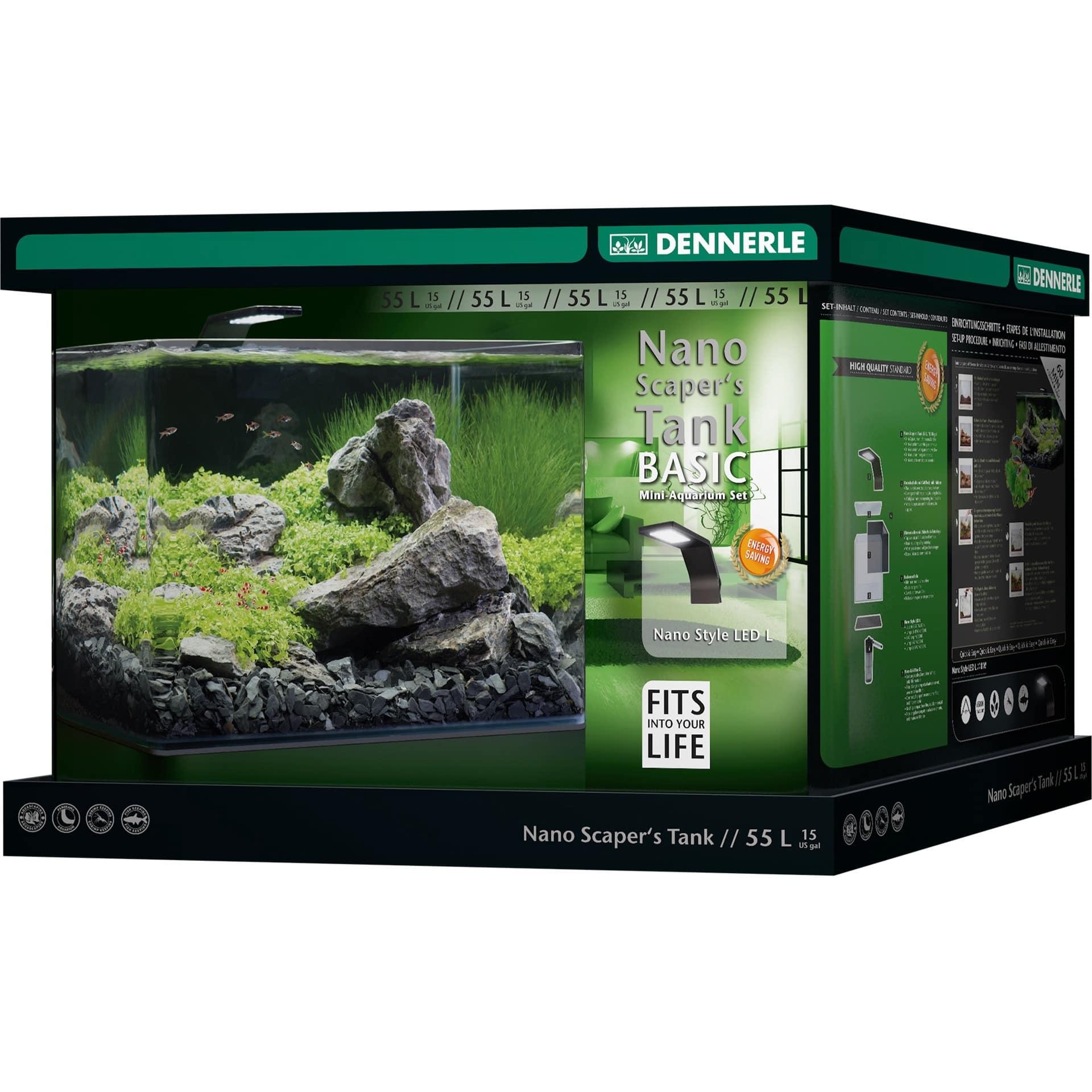 DENNERLE Nano Scaper\'s Tank Basic 55 L nano-aquarium 45 x 36 x 34 cm avec filtration et éclairage Style LED L