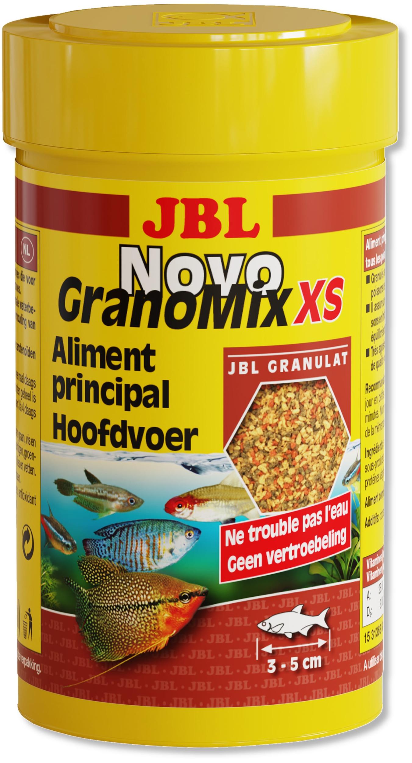 JBL NovoGranoMix XS 100 ml nourriture en granulés pour petits poissons d\'aquarium de 3 à 5 cm