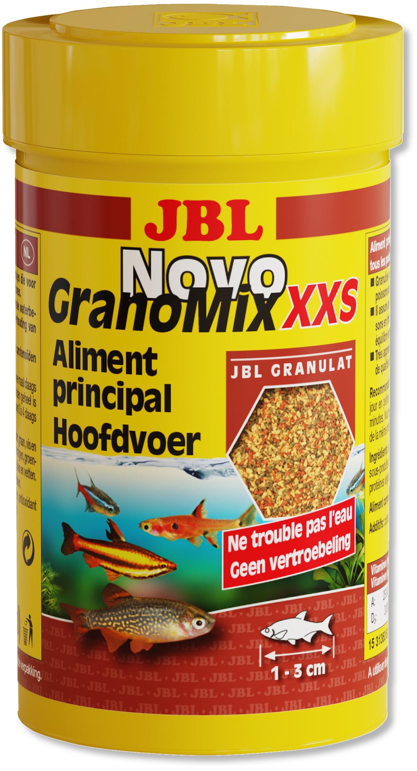JBL NovoGranoMix XXS 100 ml nourriture en granulés pour petits poissons d\'aquarium de 1 à 3 cm