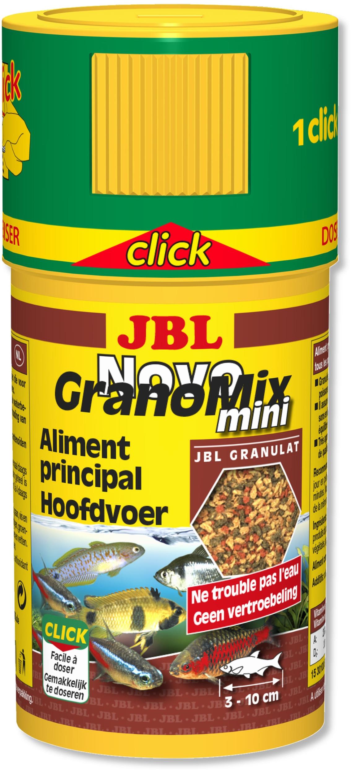 JBL NovoGranoMix Mini Click 100 ml granulés pour petits poissons d\'aquarium d\'ornement avec doseur