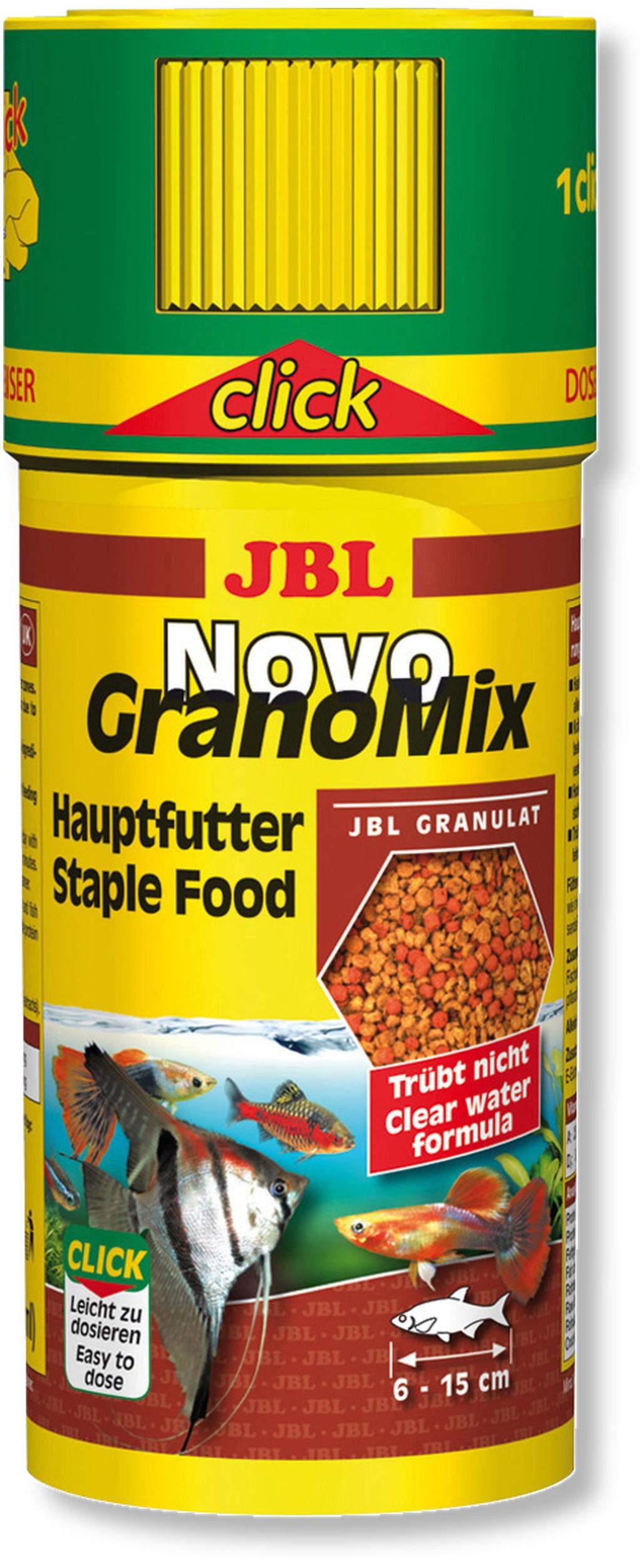 JBL NovoGranoMix Click 250 ml granulés pour petits poissons d\'aquarium d\'ornement avec doseur