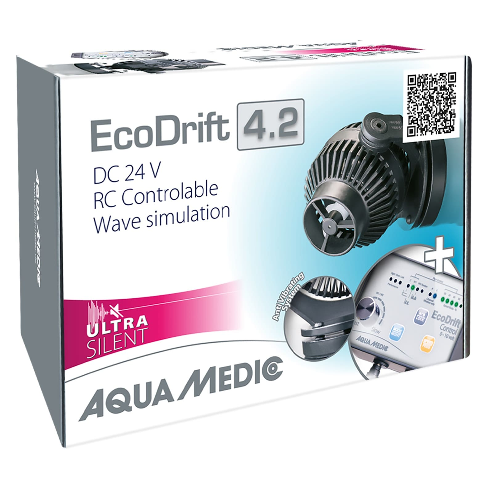 AQUA MEDIC ECODrift 4.2 Ultra Silent pompe de brassage 800 à 4000 L/h avec contrôleur électronique pour aquarium jusqu\' à 300L