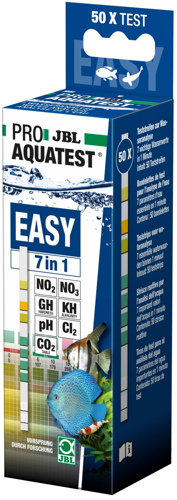 JBL ProAquaTest Easy 7 en 1 kit 50 bandelettes d\'analyse pH, NO2, NO3, GH, KH, Chlore et CO2