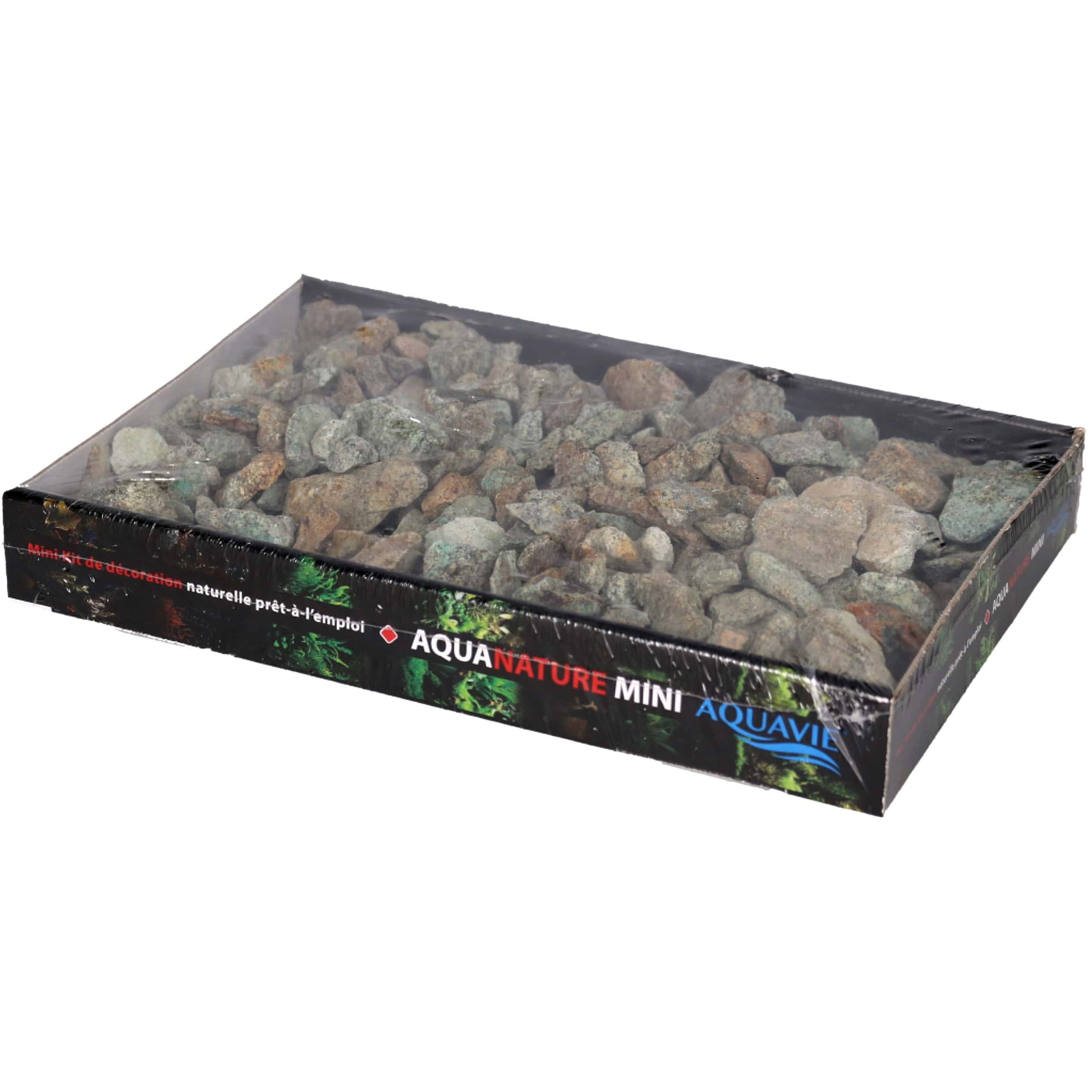 AQUAVIE AquaNature Green Africa Mini S barquette 1 Kg de pierres décoratives pour aquarium et terrarium