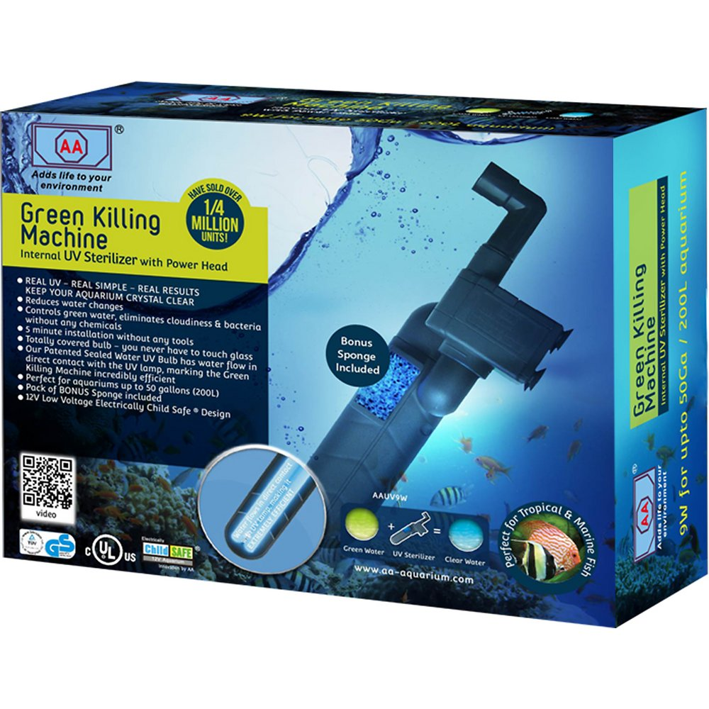 AA Green Killing Machine 9W stérilisateur UV-C interne pour aquarium d\'eau douce et d\'eau de mer jusqu\'à 200 L