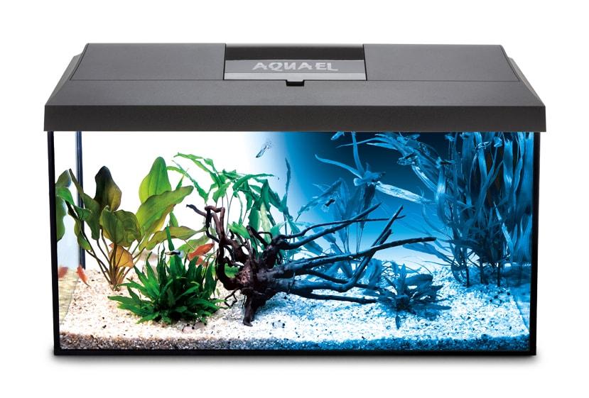 AQUAEL Leddy 60 Noir Day & Night aquarium équipé 60 x 30 x 30 cm, 54L avec éclairage LEDs 7W