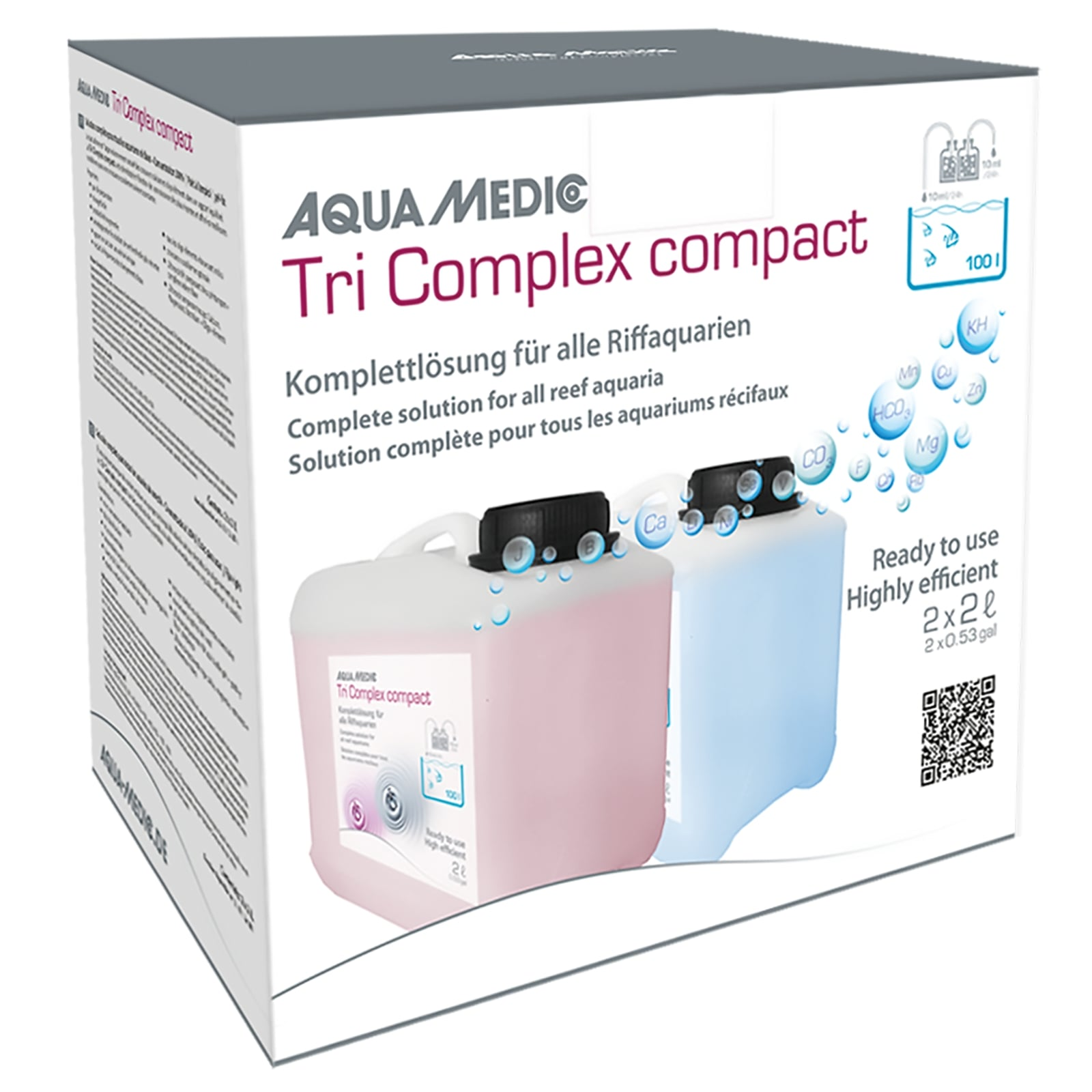 AQUA MEDIC Tri Complex Compact 2 x 2L solution Balling complète pour aquarium récifal