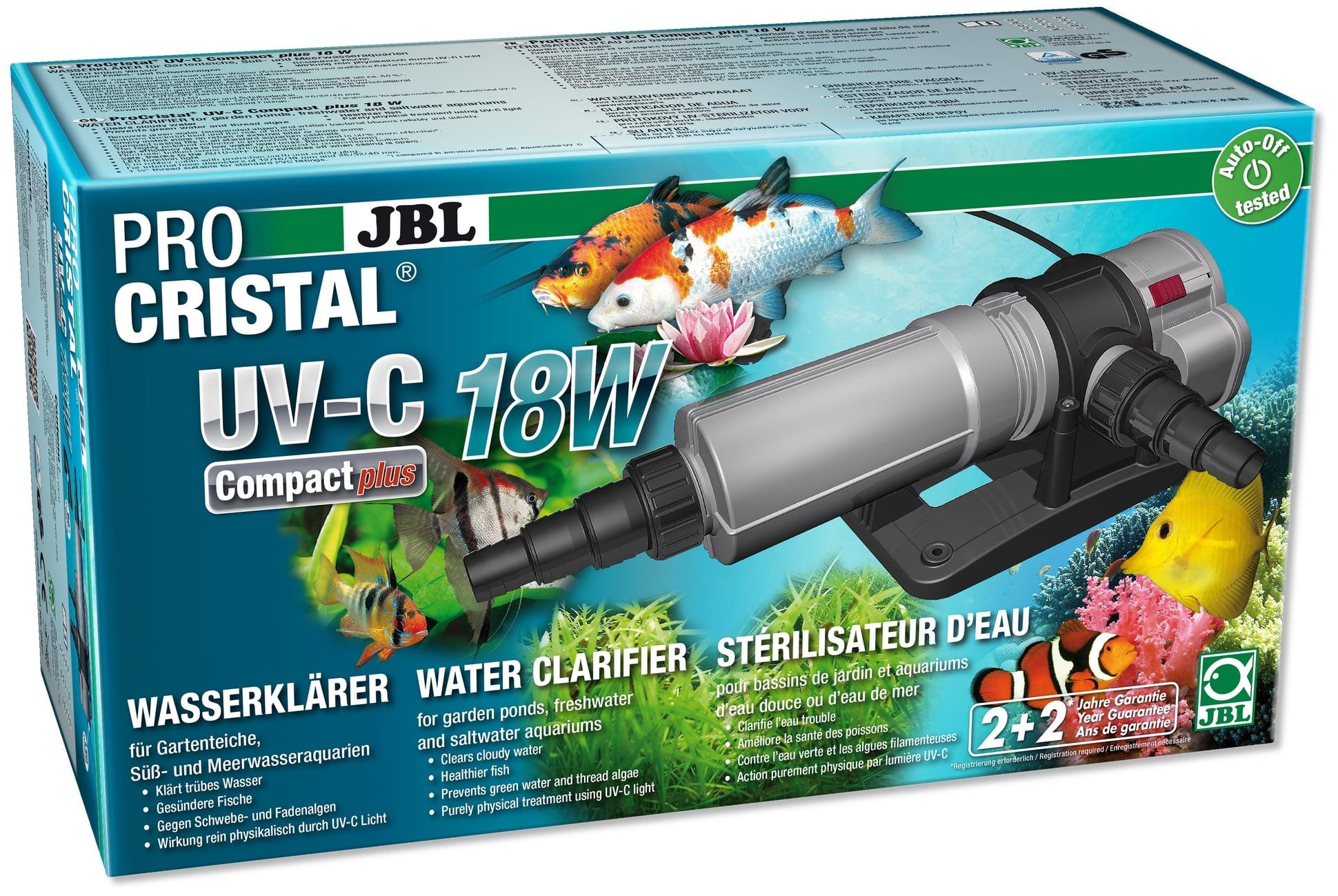 JBL ProCristal Compact Plus UV-C 18 W stérilisateur UV pour aquarium de 200 à 1500 L et bassin jusqu\'à 15000 L