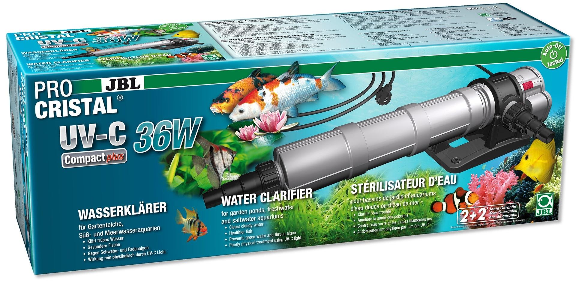 JBL ProCristal Compact Plus UV-C 36 W stérilisateur UV pour aquarium de 300 à 3000 L et bassin jusqu\'à 30000 L