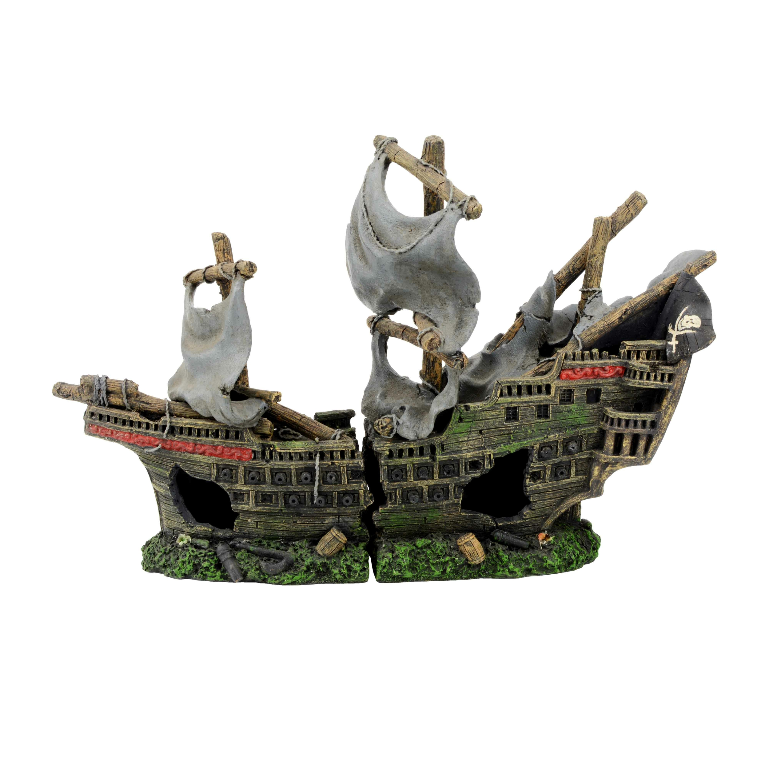 AQUAVIE Bateau Pirate en 2 parties décoration aquarium 42 x 14 x 26 cm