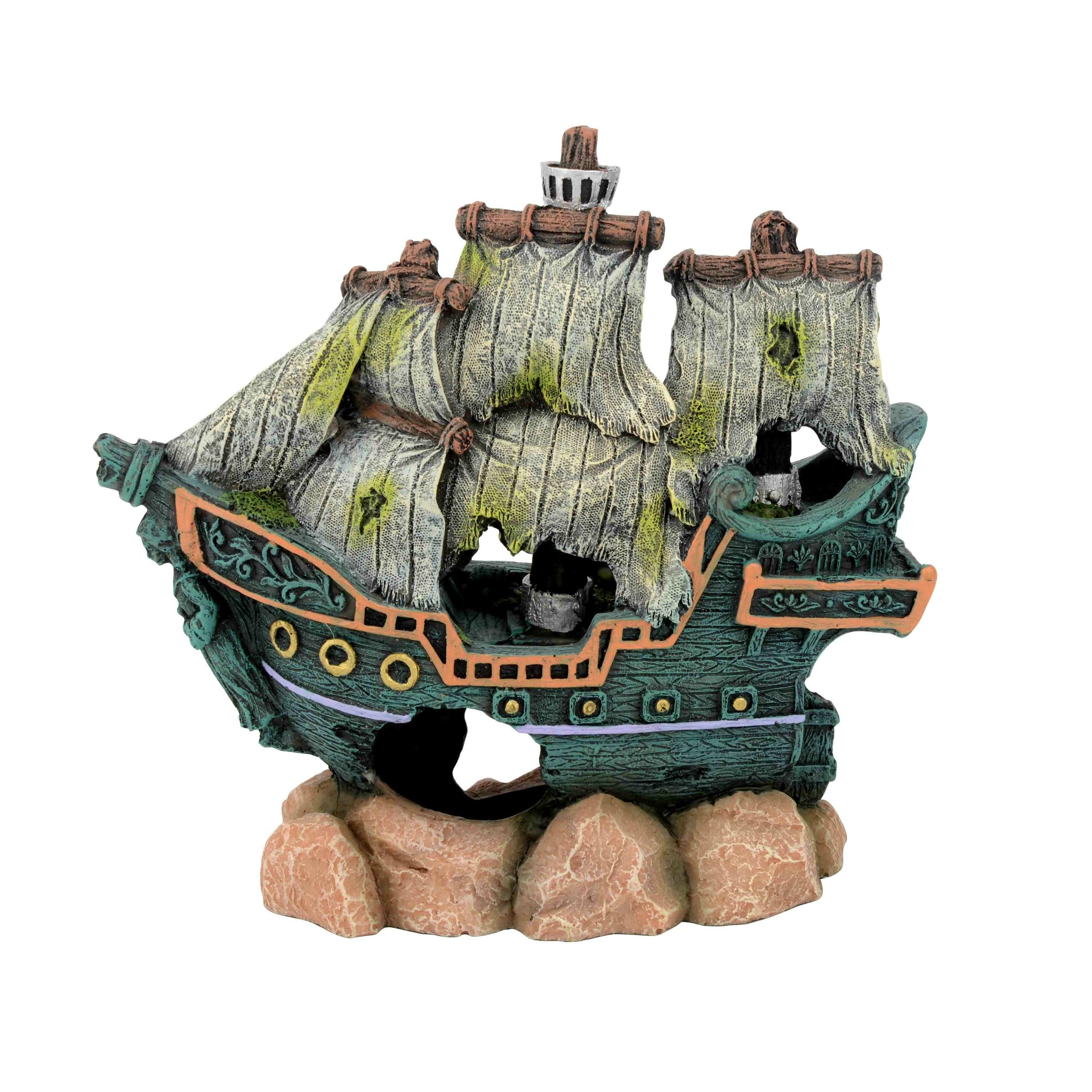 AQUAVIE Bateau Pirate Épave décoration aquarium 15,5 x 6,5 x 14,5 cm