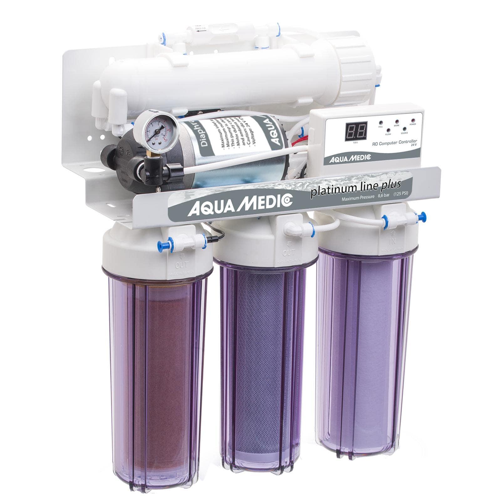 AQUA MEDIC Platinum Line Plus 24V station d\'osmose inverse 400 L/j avec pompe booster, contrôleur électronique et accessoires