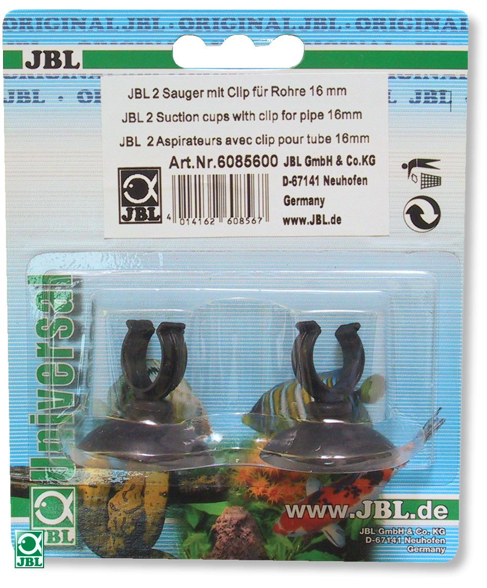 Lot de 2 ventouses JBL avec crochets 16 mm pour tuyau d\'aquarium 12/16 mm