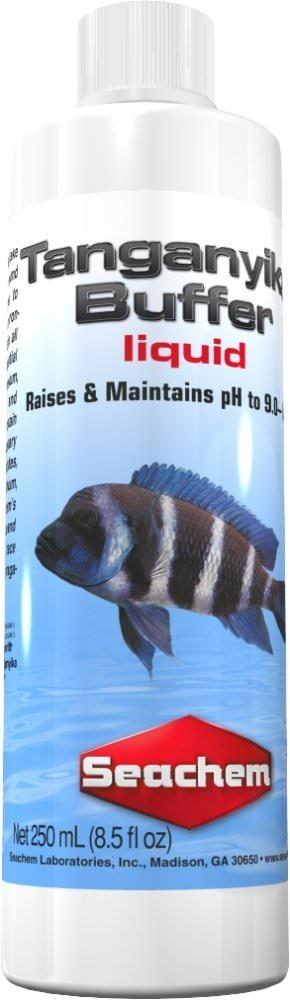 SEACHEM Tanganyika Buffer Liquid 250 ml stabilise le pH entre 9.0 et 9.4 dans les aquariums avec cichlidés du lac Tanganyika