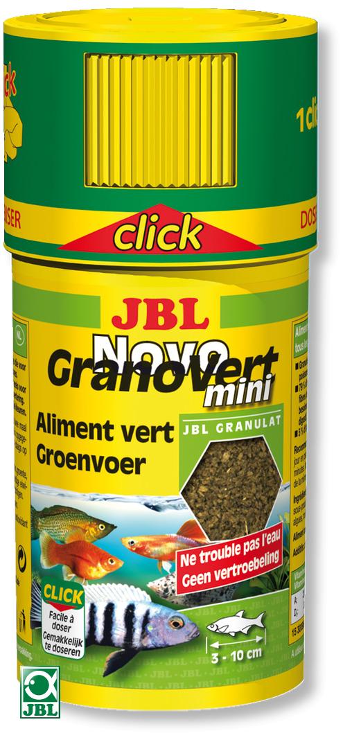 JBL NovoGranoVert mini Click 100 ml granulés pour petits poissons d\'aquarium herbivores avec doseur