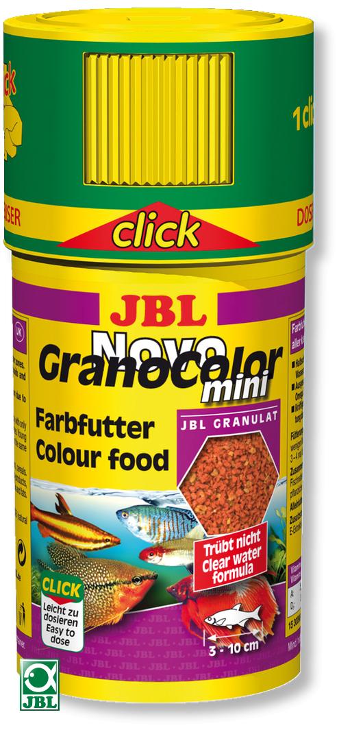 JBL NovoGranoColor mini Click 100 ml mini granulés pour petits poissons d\'aquarium avec doseur
