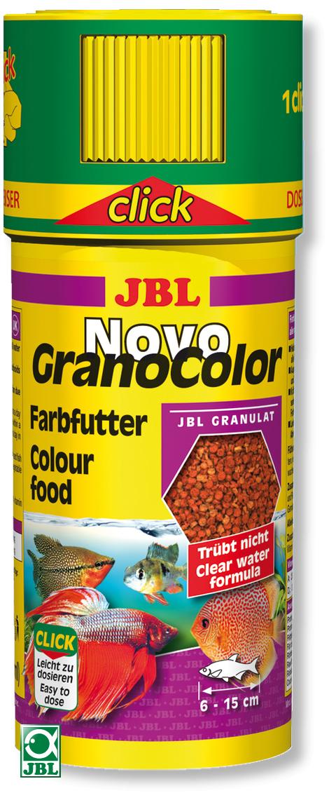 JBL NovoGranoColor Click 250 ml granulés pour petits poissons d\'aquarium d\'ornement avec doseur